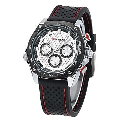 CURREN Férfi Sportos óra / Katonai óra Vízálló Gumi Zenekar Luxus Fekete