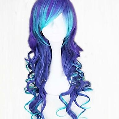 Vrouw Synthetische pruiken Lang Donkerblauw Met pony Cosplaypruik Kostuumpruiken