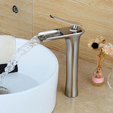 Moderna Conjunto Central Cascata Válvula Cerâmica Uma Abertura Monocomando e Uma Abertura Níquel Escovado, Torneira pia do banheiro