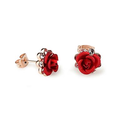 Naisten Kristalli Niittikorvakorut - Cubic Zirkonia Ruusut, Flower Purppura / Punainen / Sininen Käyttötarkoitus