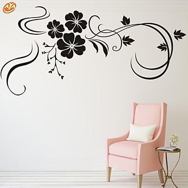Romantik Mote Blomster Veggklistremerker Fly vægklistermærker Dekorative Mur Klistermærker, Vinyl Hjem Dekor Veggoverføringsbilde Vegg