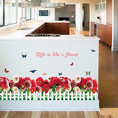Blomster Veggklistremerker Fly vægklistermærker Dekorative Mur Klistermærker, Vinyl Hjem Dekor Veggoverføringsbilde Vegg