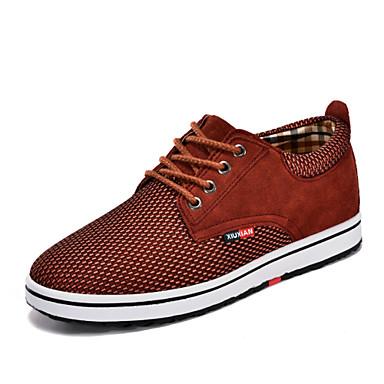 בגדי ריקוד גברים נעליים עור נאפה Leather / טול אביב / קיץ / סתיו נוחות שטוח שרוכים אדום / כחול / חאקי