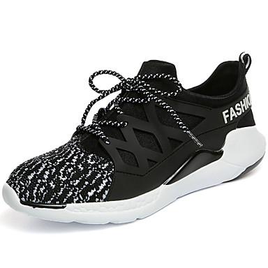 Sneakers-Tyl-Komfort-Herre-Sort Rød Hvid-Udendørs Fritid Sport-Flad hæl