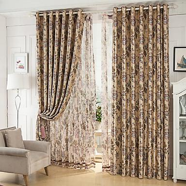 Purjerengas Kynälaskostettu 2 paneeli Window Hoito Moderni , Painettu Living Room Polyesteri materiaali Pimennysvuoritus Drapes