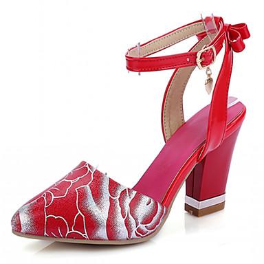 Damen Mädchen Schuhe Kunstleder Frühling Sommer Herbst Blockabsatz Für Kleid Weiß Schwarz Rot