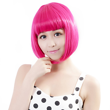 Synthetic Wig Straight Bob Haircut Synthetic Hair Pink Wig Women's Halloween Wig / Carnival Wig Capless
