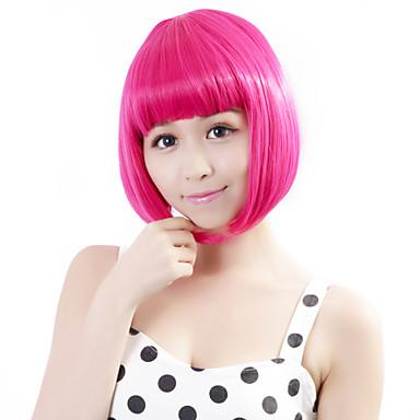 συνθετική περούκα ευθεία κούρεμα bob μοντέρνα σχεδίαση cosplay ροζ γυναικεία δαντέλα μπροστά καπάκι περούκα κόμμα αποκριών περούκα σύντομο συνθετικό