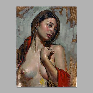 Hang festett olajfestmény Kézzel festett - Absztrakt Emberek Európai stílus Modern Vászon