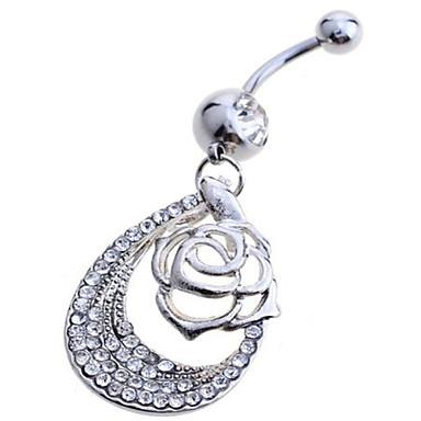 Damen Nabelring / Bauchnabelpiercing Sterling Silber Diamantimitate Luxus Rosen Blume Körperschmuck Für Party Alltag Normal Modeschmuck