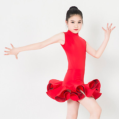 Tanzkleidung für Kinder Kleider Leistung Polyester Elasthan Rüschen Ärmellos Kleid