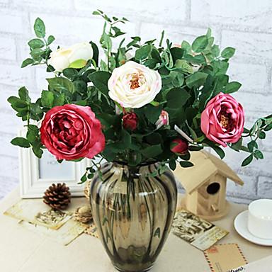 ססגוניות פרחים לחתונה מלאכותית פרחים ורדים משי סניף 1pc אופציונלי / סט