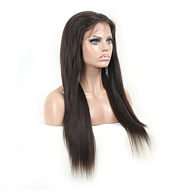 Kadın Gerçek Saç Örme Peruklar Gerçek Saç Ön Dantel Tutkalsız Dantel Ön % 130 Yoğunluk Düz yaki Peruk Simsiyah Siyah Koyu Kahverengi Orta