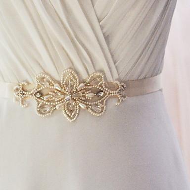 Satin Wedding Party / Evening Dailywear Sash With Beading Pearl Appliques Women's Sashes