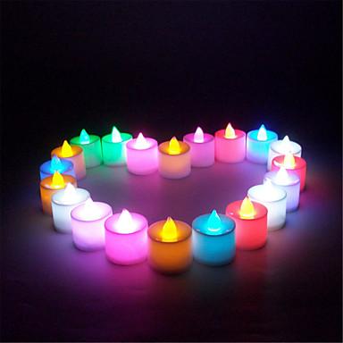 21pcs / set mini több színben vezetett elektronikus gyertya lámpa lakodalom karácsonyi dekoráció