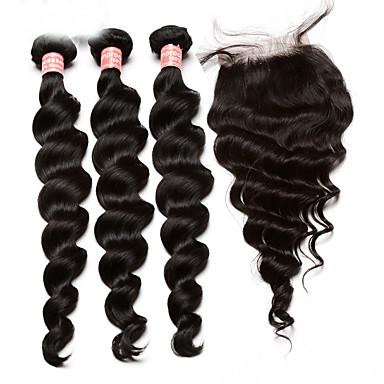 Mongolialainen Hiukset kude sulkeminen Löysät aaltoilevat Hiuspidennykset 4 osainen Musta
