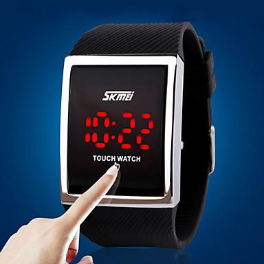 Férfi Digitális digitális karóra Sportos óra Érintőképernyő LED Szilikon Zenekar Luxus Divat Ezüst