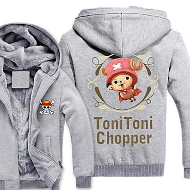 Inspiriert von One Piece Monkey D. Luffy Anime Cosplay Kostüme Cosplay Hoodies Druck Grau Lange Ärmel Top Für