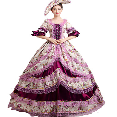 Victorian Rococo Γυναικεία Μονοκόμματο Φορέματα Βυσσινί Cosplay Δαντέλα Μακρυμάνικο Καμπάνα