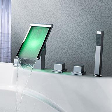 Moderne 3-Loch-Armatur Wasserfall Handdusche inklusive LED Keramisches Ventil Fünf Löcher Drei Griffe Fünf Löcher Chrom,