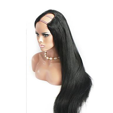 Žene Perike s ljudskom kosom Ljudska kosa Perika s U-otvorom 130% Gustoća Ravan kroj Perika Prirodna boja Kratko Medium Dug 100% rađeno
