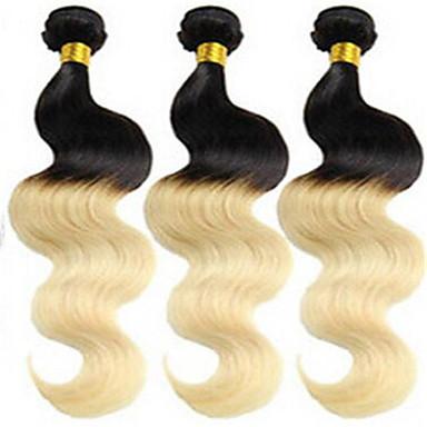 baratos Extensões de Cabelo Natural-3 pacotes Cabelo Brasileiro Onda de Corpo Clássico Cabelo Virgem Âmbar Tramas de cabelo humano Extensões de cabelo humano
