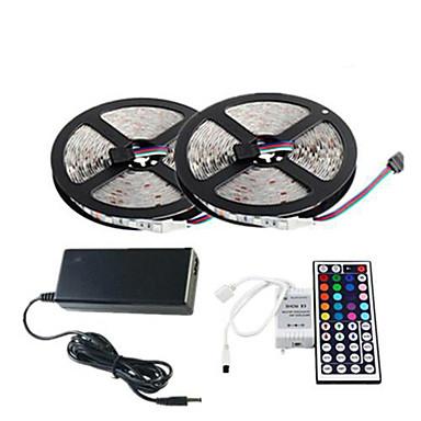 10 m RGB-lysstriper Lyssett Fleksible LED-lysstriper 300 LED RGB Fjernkontroll Kuttbar Mulighet for demping Fargeskiftende Selvklebende
