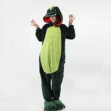Erwachsene Kigurumi-Pyjamas Dinosaurier Pyjamas-Einteiler Polar-Fleece Grün Cosplay Für Herren und Damen Tiernachtwäsche Karikatur Halloween Fest / Feiertage