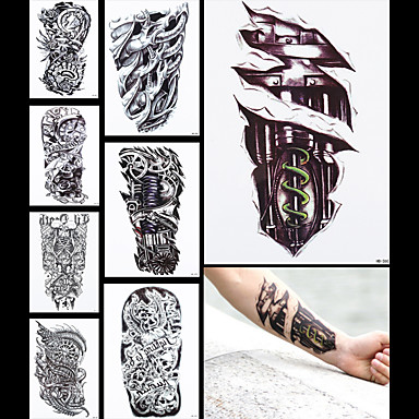 8pcs tatoo máquina falsa perna dragão manga mulheres homens corpo de volta arte etiqueta impermeável tatuagem temporária