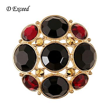 d יעלה זהב נשים עגולות קטן חדש הגעה מצופה סיכות סיכה שחורות ותכשיטי ריינסטון אדומים