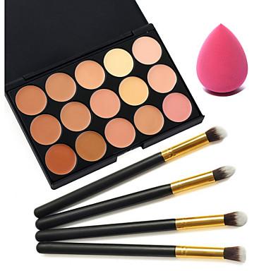 15 kolorów korektor + 4szt czarny uchwyt szczotki zestaw do makijażu + kosmetyk puff urody makijaż fundacja jajka (różne zestawy)