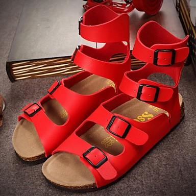 Női Cipő PVC Nyár Gadiátor Lapos Kompatibilitás Hétköznapi Fehér Fekete Piros