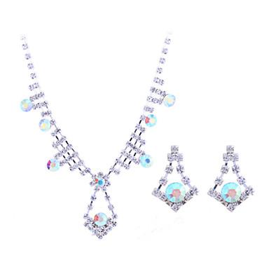 Damen Sterling Silber Zirkon Silber Diamantimitate Schmuck-Set Ohrringe Halsketten - Verschiedene Farben Schmuckset Halskette / Ohrringe
