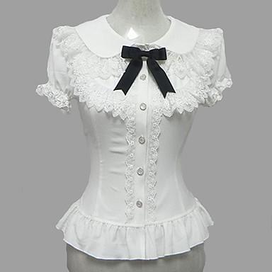 Prinzessin Niedlich Chiffon Damen Bluse / Hemd Cosplay Weiß Puffärmel / Ballon Kurzarm Lolita Kostüme