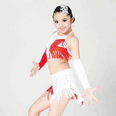 Latin tánc Felszerelések Gyermek Teljesítmény Mlječna vlakna Kristályok/Strasszok Rojt Ujjatlan Felső Szoknya Kesztyűk