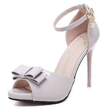 נשים נעליים עור פטנט אביב קיץ רצועת קרסול עקב סטילטו פפיון שרשרת עבור חתונה שמלה מסיבה וערב שחור סגול