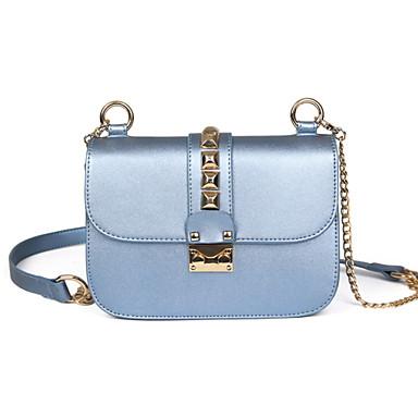 Women's Bags PU(Polyurethane) Crossbody Bag Solid Colored Black / Silver / Blue