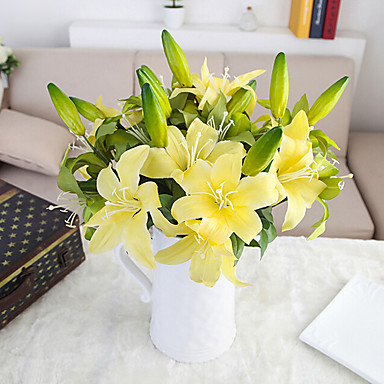 zwei Köpfe Ölgemäldeart Lilien aritificial Blumen Multicolor optional 1pc / set