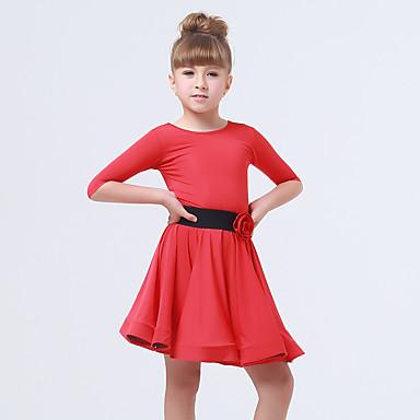 Tanzkleidung für Kinder Kleider Kinder Vorstellung Elastan Polyester Rüschen Schärpe /Band 2 Stück Halbe Sleeve Kleid Gürtel