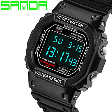 Herren Sportuhr Armbanduhr digital LED Silikon Band Schwarz Schwarz Gelb Rot Blau