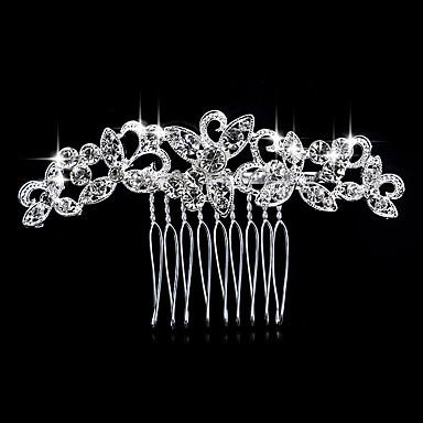baratos Jóias de cabelo-Mulheres Elegante Cristal Imitações de Diamante Prateado Pentes de Cabelo Casamento Festa