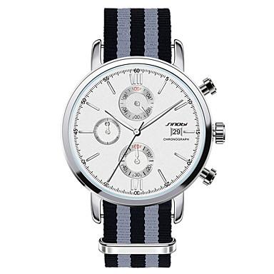 SINOBI Hommes Montre Bracelet Quartz Calendrier Chronographe Etanche Acier Inoxydable Bande Bleu Blanc