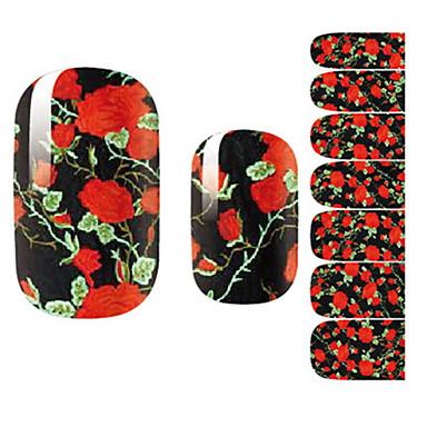 14Pcs/Sheet Nail Art Sticker 3D Nagelstickers Cartoon / Bloem / Schattig make-up Cosmetische Nail Art Design