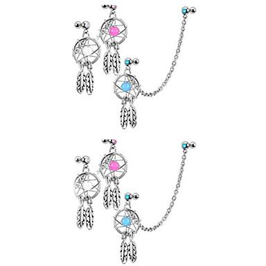 Damen Ohrenpiercing Sterling Silber Diamantimitate Luxus Körperschmuck Für Alltag Normal Modeschmuck Weiß