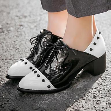 Damen Schuhe Lackleder / Kunstleder Frühling / Herbst Blockabsatz / Block Ferse Schnürsenkel Weiß / Schwarz