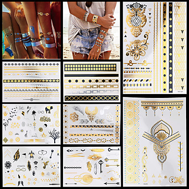 8kpl vesitiivis body art naisten kulta musta värikäs seksikäs kukka pöllö rannekoru ketju toteemi väliaikainen tatuointi tarroja tyylikäs