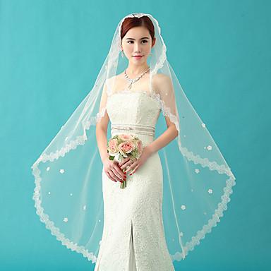 Hochzeitsschleier Einschichtig Ellbogenlange Schleier Spitzen-Saum Tüll Weiß