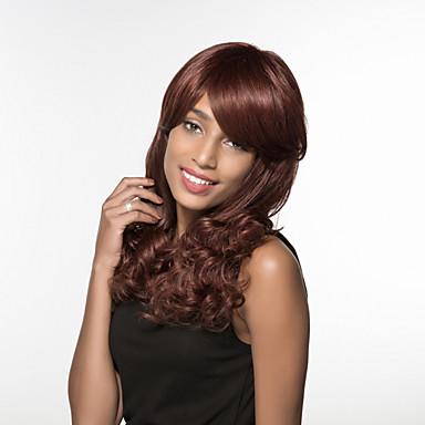Emberi hajszelet nélküli parókák Emberi haj Hullámos Sapka nélküli Paróka