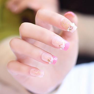 24pcs / satt falske negler falske spiker ferdig manikyr negler tips rosa kjærlighet form