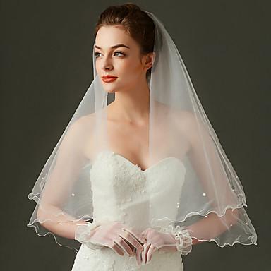 Einschichtig Wellenkante Hochzeitsschleier Ellbogenlange Schleier Mit Perle Tüll